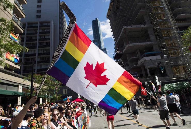 flag, hockey stick, Pride parade, Toronto,