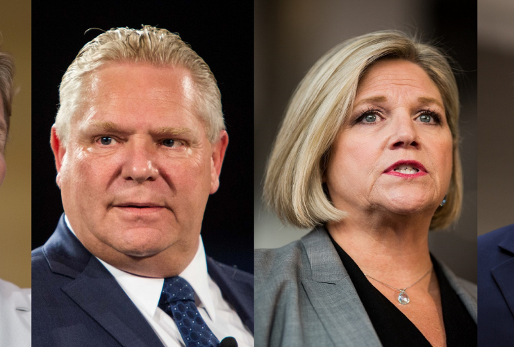 Liberal leader Kathleen Wynne, Progressive Conservative leader Doug Ford, NDP leader Andrea Horwath, Green leader Mike Schreiner