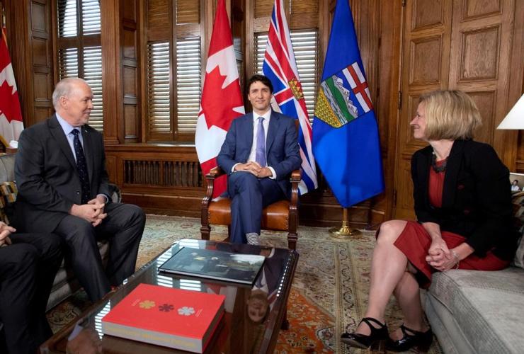 Justin Trudeau, John Horgan, Rachel Notley, Parliament Hill, Kinder Morgan, Trans Mountain pipeline expansion,