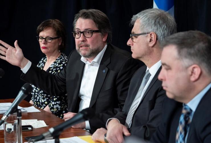 Quebec ministers, Lucie Charlebois, David Heurtel, Jean-Marc Fournier, Sebastien Proulx, asylum seekers, Montreal,