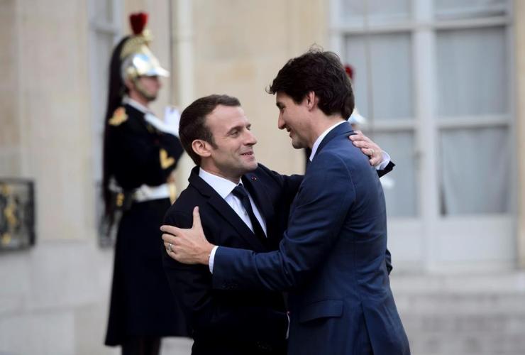 Prime Minister Justin Trudeau, French President Emmanuel Macron, Palais de l'Elysee, Paris, France,