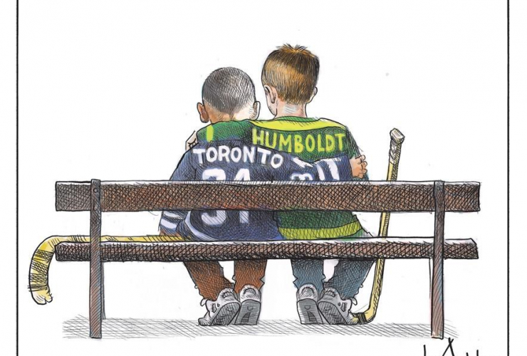 cartoon, van attack, Toronto, Humboldt, two young boys, hockey sweater, Michael de Adder