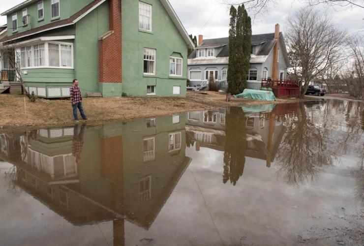 Michael Greenspade, flood waters, Nashwaak River, Fredericton, New Brunswick,