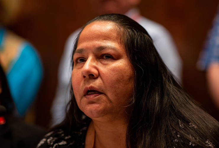 Chief Judy Wilson speaks to reporters about Kinder Morgan's Trans Mountain pipeline expansion at the Assembly of First Nations Special Chief Assembly, at the Hilton Lac-Leamy in Gatineau, Que. on May 2, 2018. Photo by Alex Tétreault
