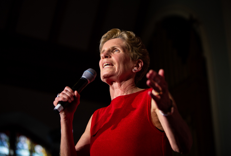 Ontario Liberal Leader and incumbent Premier Kathleen Wynne speaks to supporters in Ottawa on May 9, 2018. Photo by Alex Tétreault