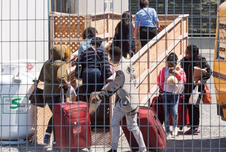 asylum seekers, temporary housing facilities, border crossing, St. Bernard-de-Lacolle, Que.,