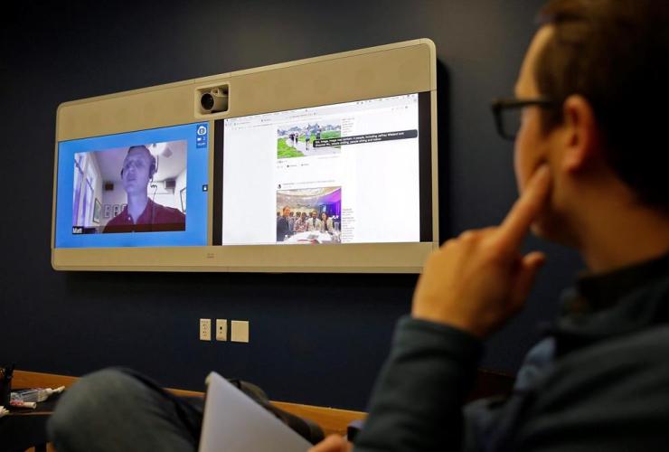 Jeff Wieland, Matt King, facial recogn Jeff Wieland, Matt King, facial recognition technology, teleconference, Facebook headquarters, Menlo Park, Calif.,