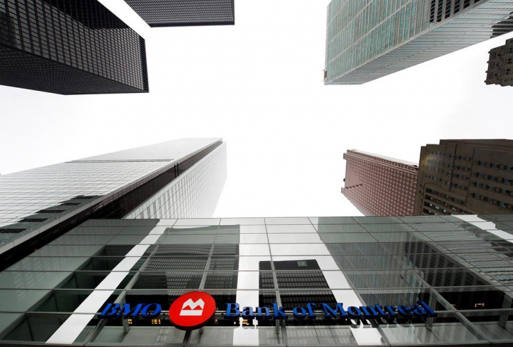 Bank of Montreal sign, financial district, Toronto,