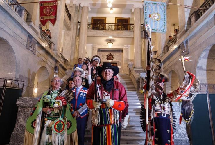 procession, Alberta Legislature, Alberta Premier Rachel Notley, apologizes, survivors, families, Sixties Scoop,