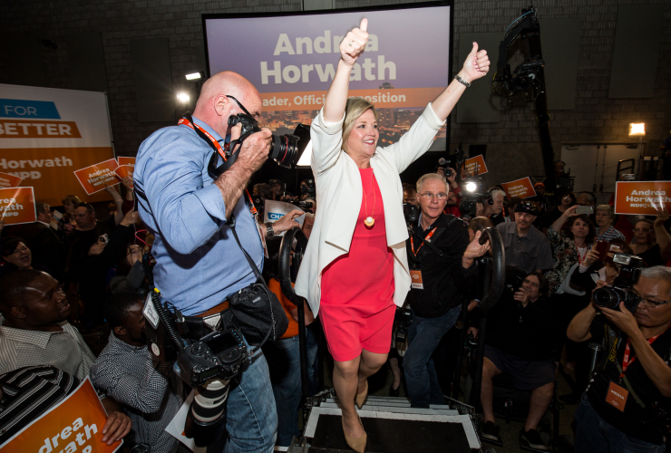 NDP Leader Andrea Horwath greets supporters in Hamilton, Ont. on June 7, 2018. Photo by Giordano Ciampini