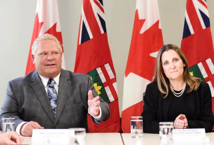 Minister of Foreign Affairs Chrystia Freeland, Ontario Premier-designate Doug Ford,