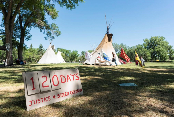 Justice for Our Stolen Children camp, Saskatchewan Legislative Building, Regina,