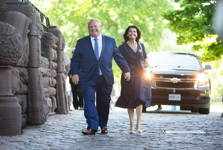 Doug Ford arrives at Queen's Park with his wife Karla, to be sworn in as Ontario's 26th premier on June 29, 2018. Photo by Alex Tétreault