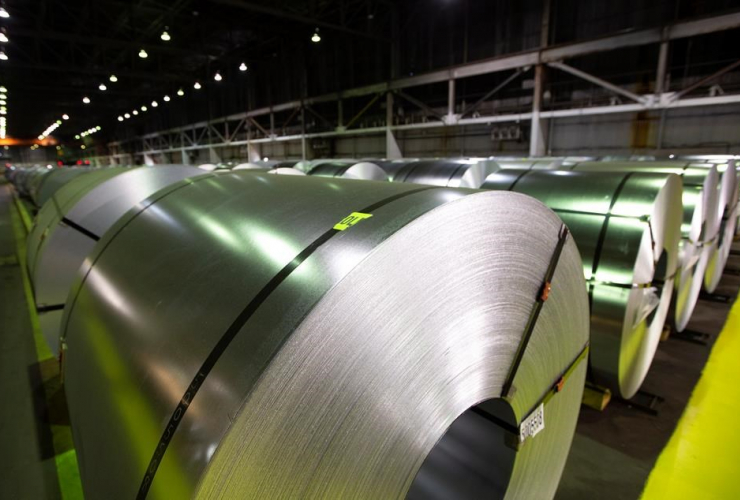 Rolls, coiled coated steel, Stelco,
