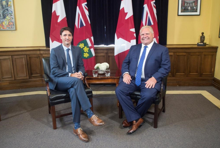 Ontario Premier Doug Ford, Canadian Prime Minister Justin Trudeau,