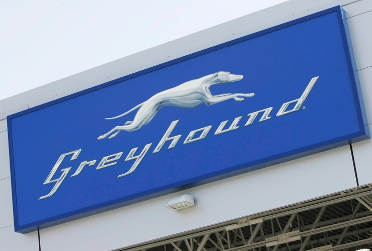 Greyhound logo, Greyhound Terminal, James Richardson International Airport, Winnipeg,