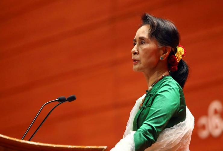 Aung San Suu Kyi, closing ceremony, 21st Century Panglong Union Peace Conference, Myanmar International Convention Centre, Naypyitaw, Myanmar,