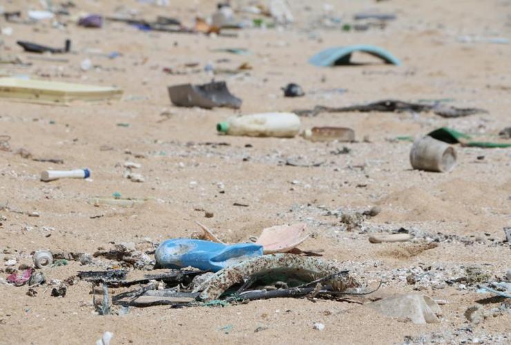 Hawaii, ocean debris, Kahuku, Oahu,