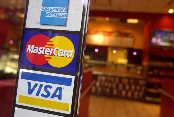 Signs, American Express, MasterCard, Visa credit cards, New York coffee shop,