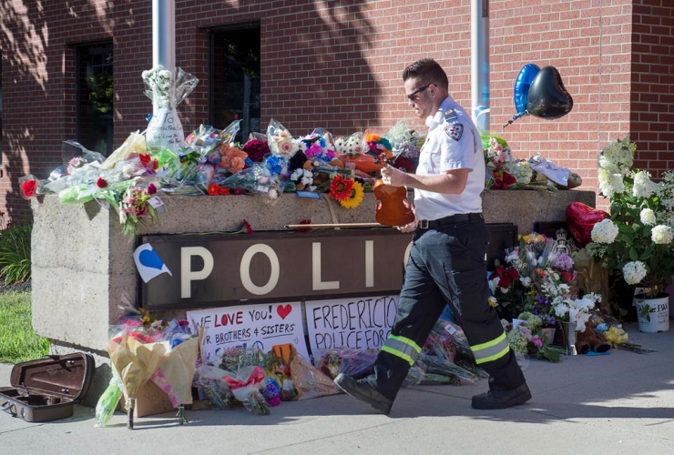 Paramedic Brian Fournier, tribute, police station, Fredericton,