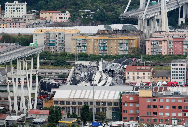 Cars, blocked, Morandi highway bridge, collapsed, Genoa, Italy,