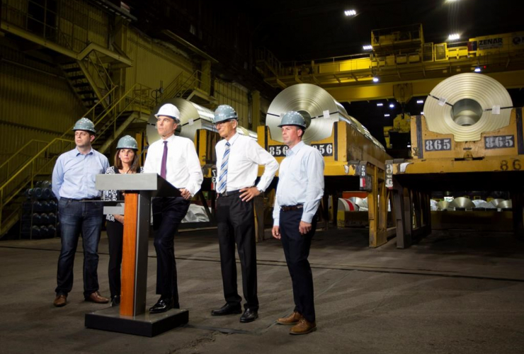 Finance Minister Bill Morneau, ArcelorMittal Dofasco, galvanizing mills, Hamilton,