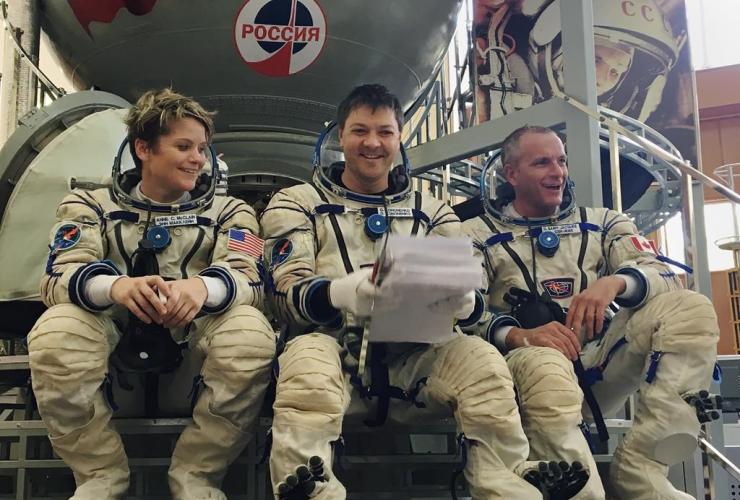 Astronauts, Anne McClain, Oleg Kononenko, David Saint-Jacques, Soyuz simulator, Gagarin Cosmonaut Training Center, Star City, Russia,