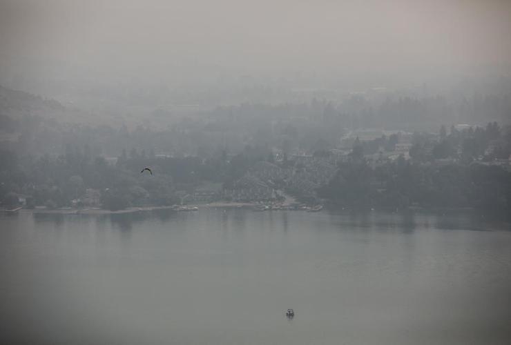 Thick smoke, BC wildfires, Kalamalka Lake, Vernon,