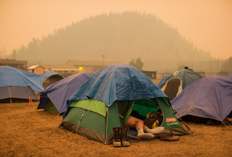 Firefighter Raymundo Rosales, Mexico, tent, wildfire firefighters, Fraser Lake,