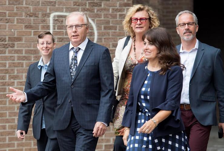 Parti Quebecois leader Jean-Francois Lisee, Veronique Hivon,