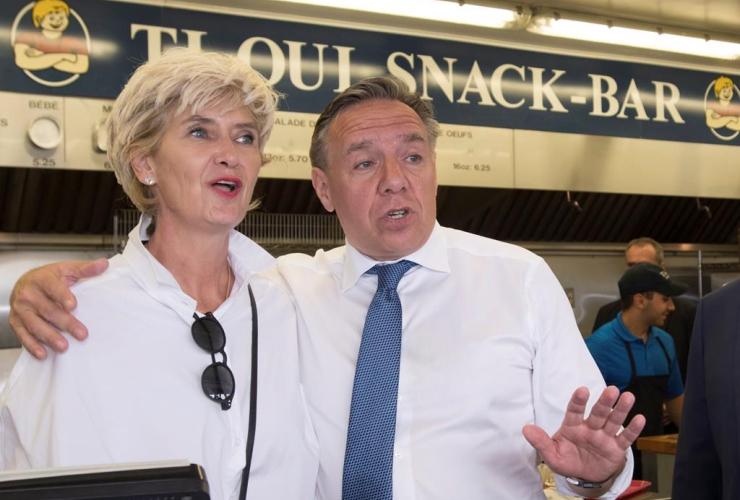 Coalition Avenir Quebec Leader Francois Legault, Isabelle Brais, Ti Oui Snack-Bar, Saint-Raymond, Que.,