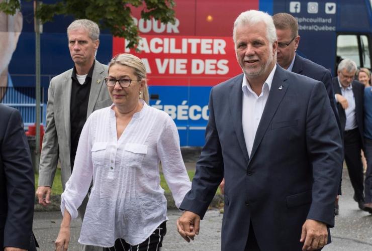 Quebec Liberal Leader Philippe Couillard, Suzanne Pilote, auxiliary nursing school, Saint-Georges,