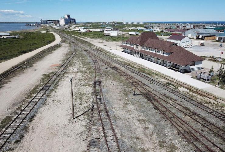 aerial view, rail line, Via Rail station, Churchill, Manitoba,
