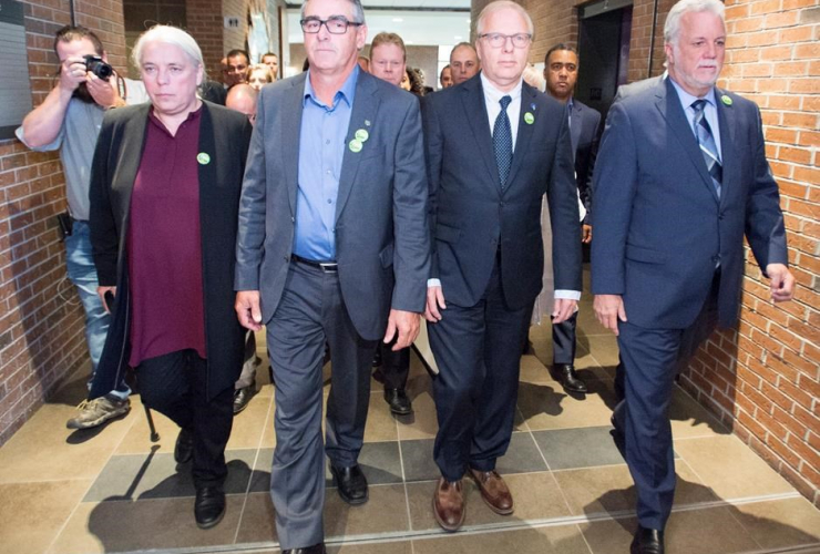 Quebec Solidaire, Manon Masse, UPA president Marcel Groleau, PQ leader Jean-Francois Lisee, Quebec Liberal Leader Philippe Couillard,