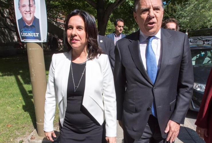 Coalition Avenir du Quebec leader Francois Legault, Montreal Mayor Valerie Plante,