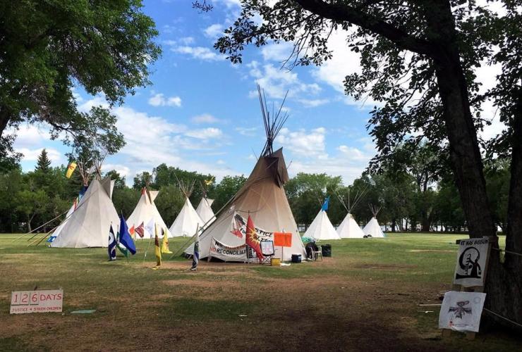 The Justice of Our Stolen Children protest camp, legislature, Regina