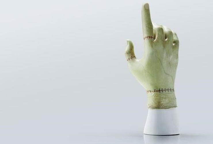 hand-painted Frankenstein glove,