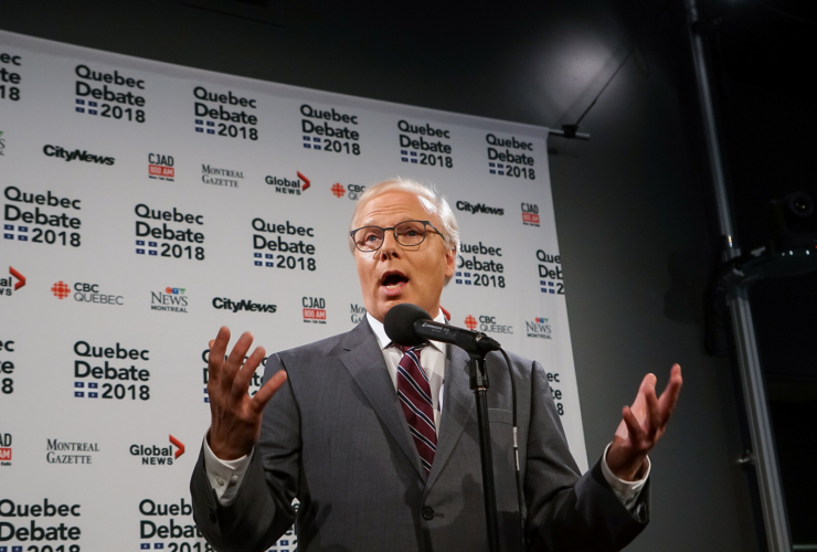 Parti Québécois leader Jean-François Lisée after the English-language leadership debate held in Montreal on 17 September