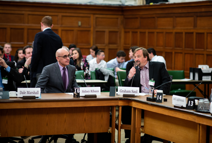 Sidney Ribaux, executive director for Équiterre, and Graham Saul, executive director for Nature Canada, appear at the House of Commons Standing Committee on Finance as part of a panel to view Bill C-74 in Parliament on May 7, 2018. Photo by Alex Tetrault
