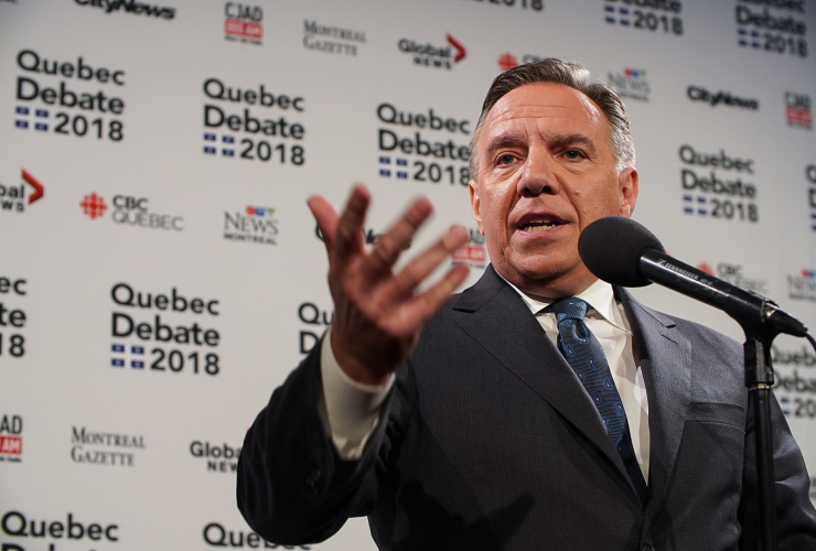 The CAQ's François Legault speaks to reporters after the English-language debate in Montreal on 17 September 2018