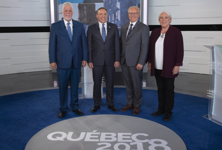 Philippe Couillard, François Legault, Jean-François Lisée and Manon Massé at the third - and final - Quebec provincial election debate. Courtesy of Sebastien St-Jean, Agence QMI