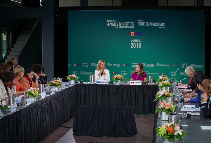 Federica Mogherini and Chrystia Freeland at Women's Foreign Ministers Meeting in Montreal, 21 September 2018