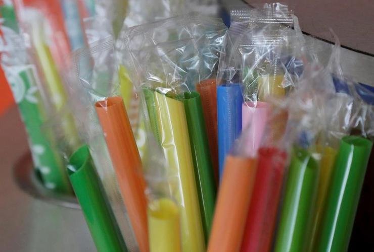 wrapped plastic straws, bubble tea cafe, San Francisco,