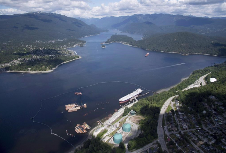 aerial view, Kinder Morgan, Trans Mountain marine terminal, Burnaby,