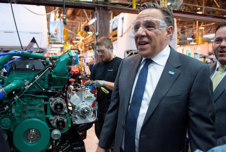 Coalition Avenir Quebec Leader Francois Legault, Prevost Car assembly plant, Sainte-Claire,