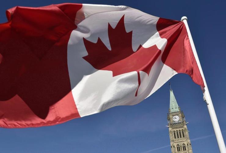 Canadian flag, Peace Tower, Parliament Hill, Ottawa,