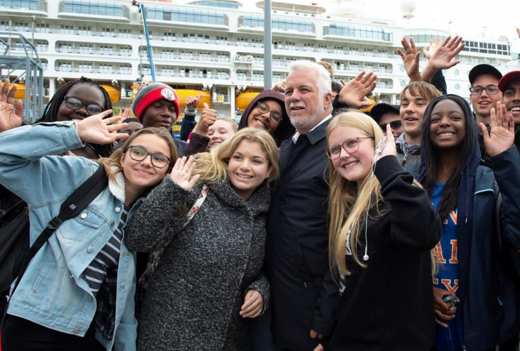 Quebec Liberal Leader Philippe Couillard, Chateauguay students,