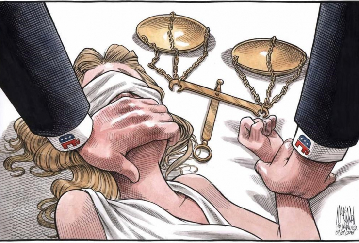political cartoon, Lady Justice, Supreme Court nominee Brett Kavanaugh, Bruce MacKinnon