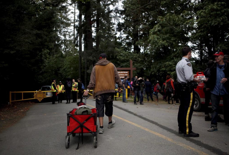 Tent City residents, Camp Namegans, BC Parks, Goldstream Campground, Langford,
