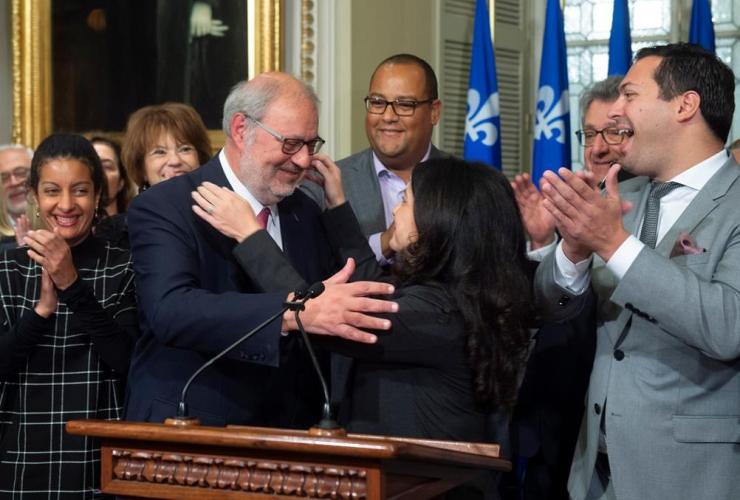 Interim Quebec Liberal Opposition Leader Pierre Arcand, Liberal caucus president Filomena Rotiroti,